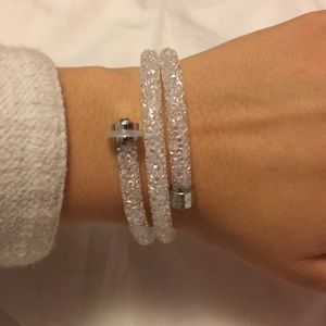 Swarovski Crystaldust Double Bangle White